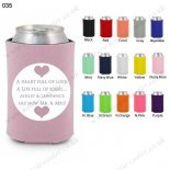 dusty rose customized neoprene wedding can koozie 035