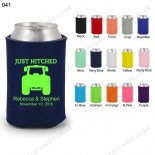 Navy blue neoprene koozie with fashion design 041