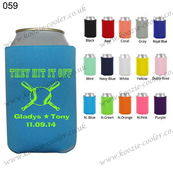 neon blue color stubby holder can koozie 059 they hit it off