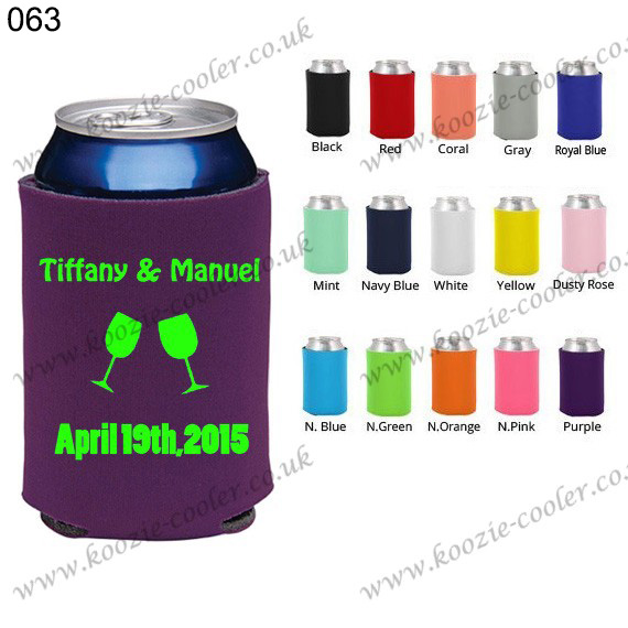 personalized multi-colored cozy can cooler 063 purple wine glasses cheers