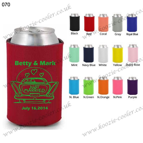 Red promotional printed neoprene can cooler 070