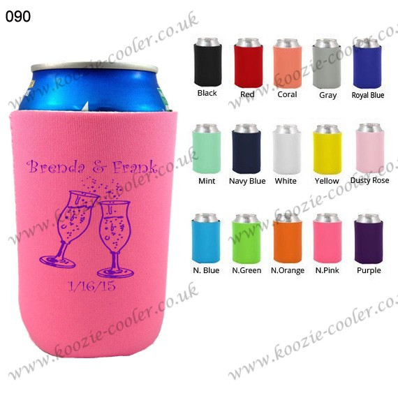 N.Pink foldable stubby holder print can koozie 090