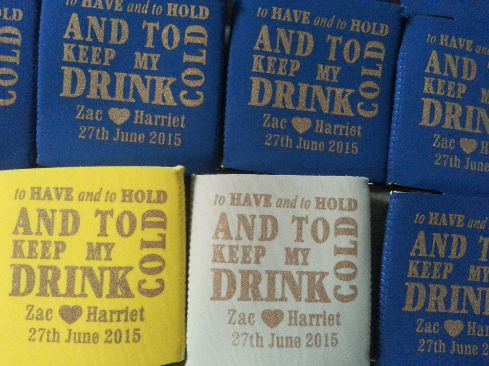 wedding koozies gold
