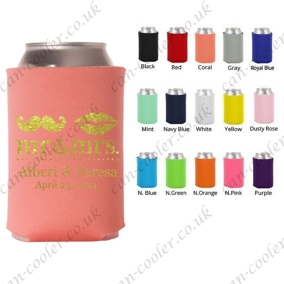 personalised can cooler wedding favors